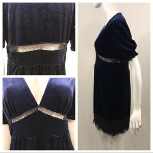 Topshop Dresses - Topshop Blue Velvet V Neck Dress FLAWED